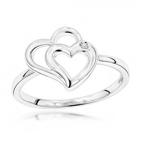 Luxurman Love Quotes: Sterling Silver Double Hearts Diamond Ring for Women Main Image