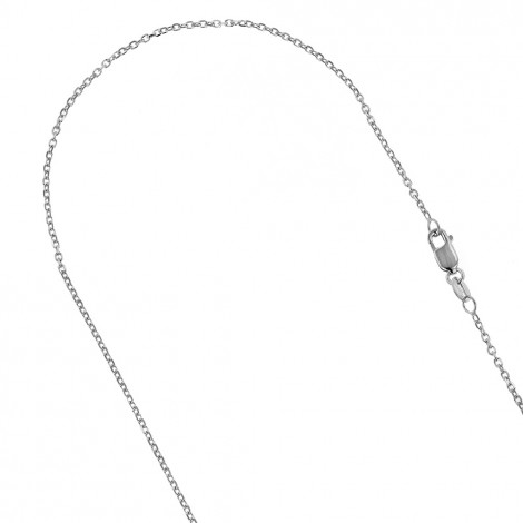 LUXURMAN Solid 10k Gold Cable Chain For Women 0.8mm Wide White Image