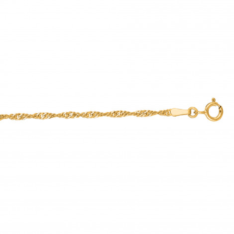 LUXURMAN Solid 10k Gold Singapore Chain For Men & Women 1.7mm Wide Yellow Image