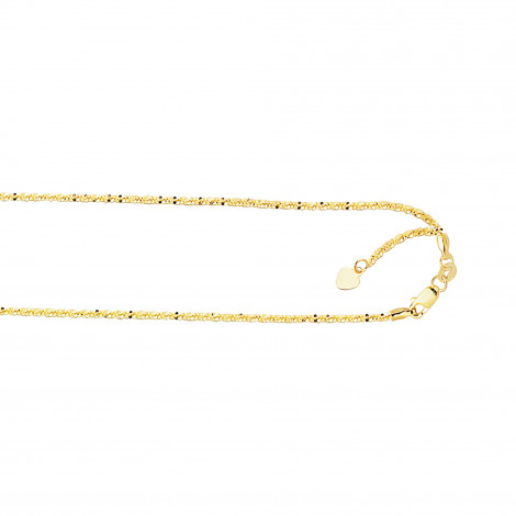 LUXURMAN Solid 10k Gold Sparkle Chain For Women Adjustable 1.5mm Yellow Image