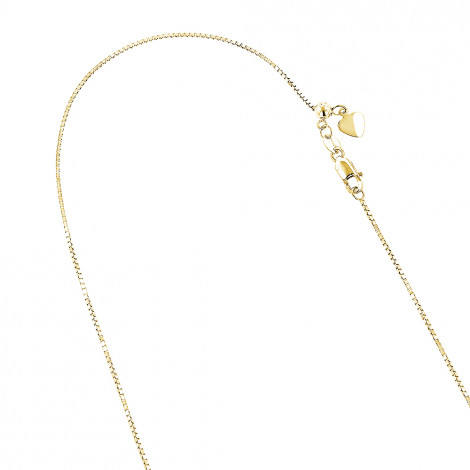 LUXURMAN Solid 14k Gold Box Chain For Men & Women Adjustable 1.1mm Yellow Image