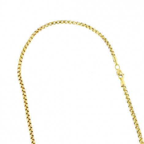 LUXURMAN Solid 14k Gold Box Chain For Men & Women Round 2.8mm Wide Yellow Image