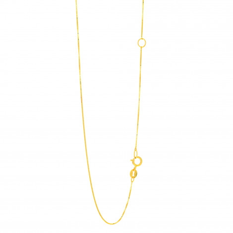 LUXURMAN Solid 14k Gold Box Chain For Women Extendable 0.6mm Wide Yellow Image