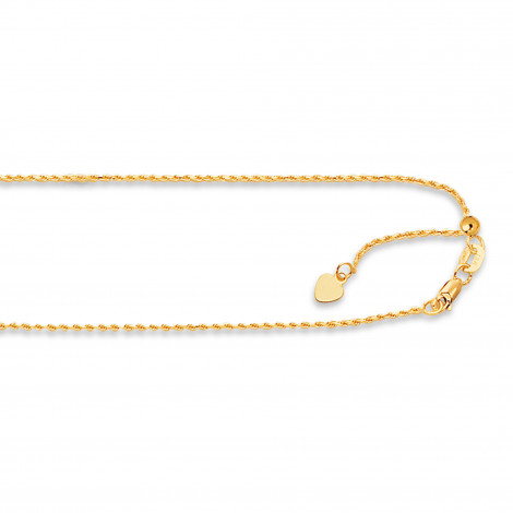 LUXURMAN Solid 14k Gold Rope Chain For Men & Women Adjustable 1.1mm Yellow Image