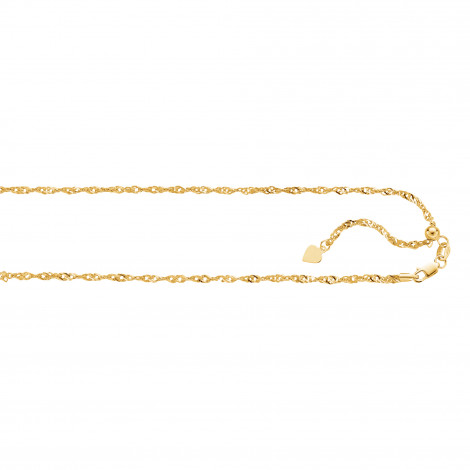 LUXURMAN Solid 14k Gold Singapore Chain For Men & Women 1.1mm Wide Yellow Image