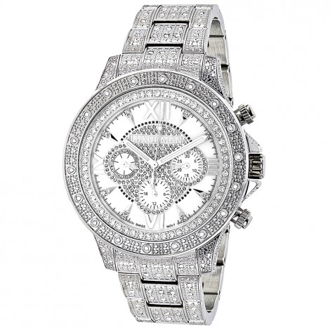 Luxurman Watches: Iced Out Mens Diamond Watch 1.25ct Main Image