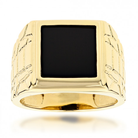 Mens Black Onyx Ring in 14K Yellow Gold Yellow Image