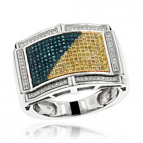 Mens Color Diamond Ring 0.61ct Sterling Silver Main Image