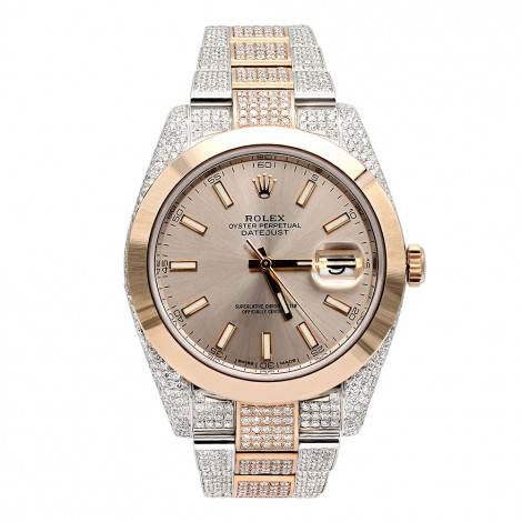 Mens Diamond Rolex Datejust Two Tone Rose Gold Watch Oyster Perpetual 40mm Main Image