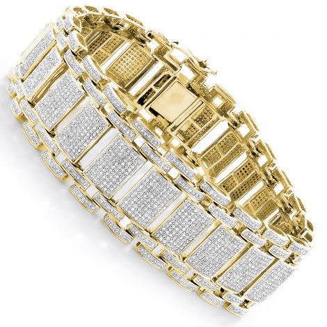 Mens Iced Out Pave Diamond Bubble Bracelet 7ct 10k or 14k Gold Yellow Image