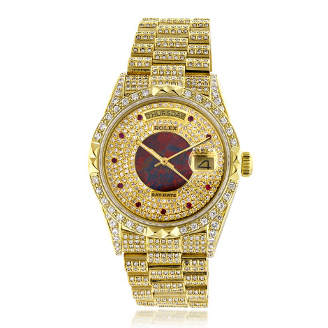 18k Gold Mens Rolex Oyster Perpetual Day-Date Custom Diamond Watch 14ct mens-rolex-oyster-perpetual-day-date-custom-diamond-watch-14ct_1
