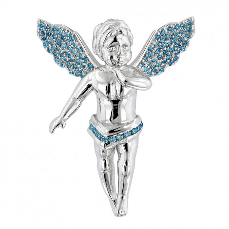 Mini Angels with Wings Charms: Blue Diamond Angel Pendant 0.7ct 14K Gold Main Image