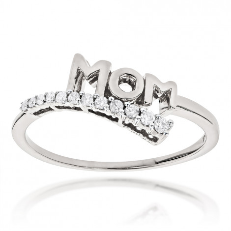 Solid 10k Gold Mothers Day Gifts Journey Diamond MOM Ring .13ct White Image