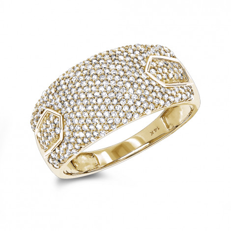 Pave Diamond Band for Women in 14K Gold 0.65ct Yellow Image