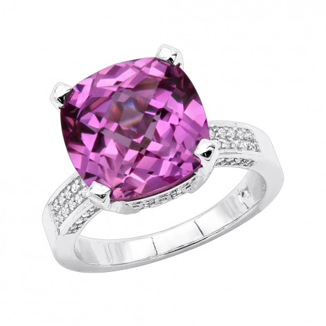 Pink Sapphire Diamond Rings for Women 14K Gold Cocktail Ring 0.55ct White Image