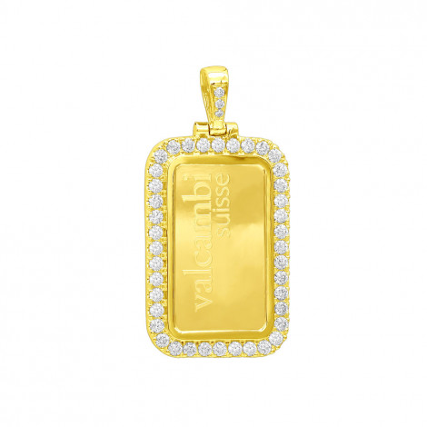Real 24K Gold Suisse Bar Diamond Dog Tag Pendant For Men Customizable 2.2ct Yellow Image