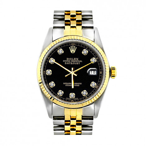 Rolex Datejust Mens Diamond Watch Oyster Perpetual Stainless Steel 18K Gold 36mm Black Dial Main Image