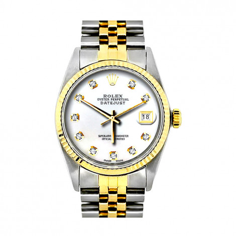 Rolex Datejust Mens Diamond Watch Stainless Steel & 18K Gold White Dial Main Image