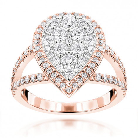 Rose Gold Jewelry: Pear Shaped Diamond Ring for Women 1.55ct 14K Rose Image