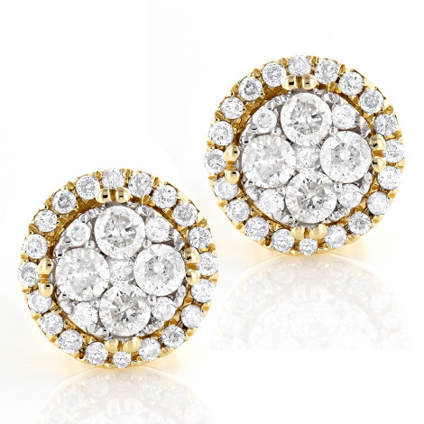 Round Diamond Cluster Earrings 14K Gold Studs 0.9ct Yellow Image