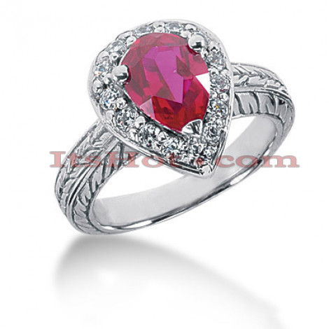 Ruby Engagement Ring With Diamonds 14K 0.42ctd 2ctr Main Image
