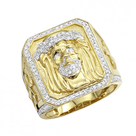 Solid 10K Gold Jesus Face Diamond Ring for Men 0.65ct by Luxurman Yellow Image
