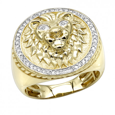Solid 10K Gold Lion Head Diamond Ring for Men 0.3ct Luxurman Pinky Rings Yellow Image