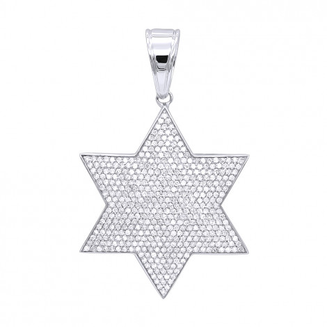 Solid 10K Gold Star of David Diamond Pendant for Men 1.35ct by Luxurman White Image