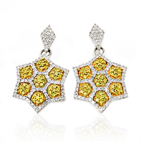 Star Dangle Earrings with White and Yellow Diamonds 0.80ct 14K star-dangle-earrings-with-white-and-yellow-diamonds-080ct-14k_1