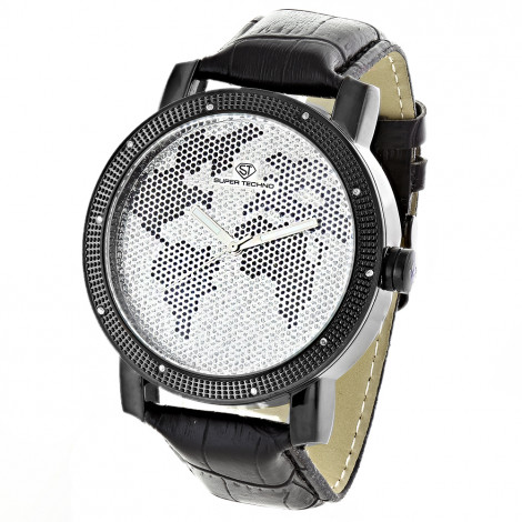 Super Techno Watches: Mens Diamond World Map Watch 0.1ct is $127 (86% off)