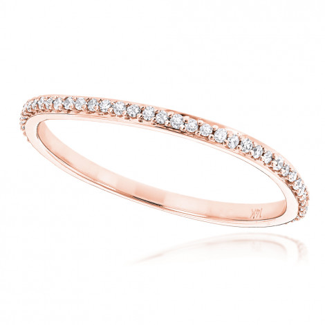 Ultra Thin Stackable Diamond Ring 0.15ct 14K Gold Curved Design Rose Image