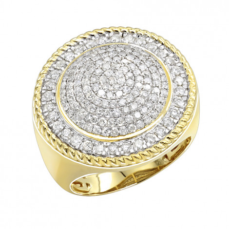 Unique 10K Gold 2 carat Large Diamond Ring for Men Round Shape by Luxurman Yellow Image