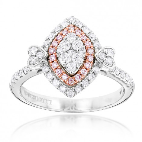 Unique 14K Gold White Pink Diamond Ring for Women Marquise Hearts Design White Image