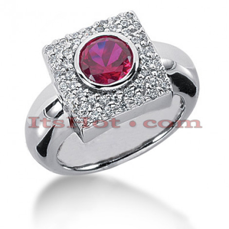 Unique Ladies Diamond and Ruby Ring 14K Gold 0.70ctd 1.00ctr Main Image
