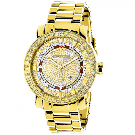 Unique Large Mens Diamond Watch 18k Yellow Gold Plated by Luxurman 0.12ct Main Image