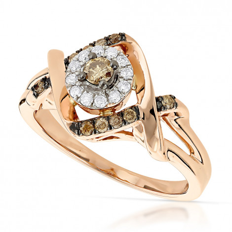 Unique White and Brown Champagne Diamonds Ladies Ring 0.35ct 14K Gold Rose Image