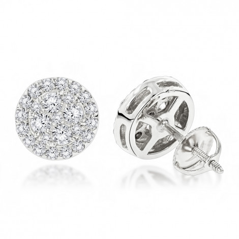 Unisex Round Diamond Stud Earrings Clusters in 14K Gold 1.75ct White Image