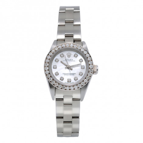 26mm Rolex Diamond Watch for Women White MOP Dial Oyster Perpetual 0.9ct Main Image