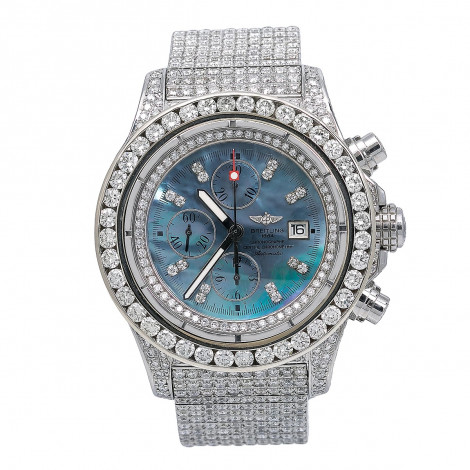48mm Iced Out Diamond Breitling Super Avenger Watch For Men Blue MOP 24.85c Main Image