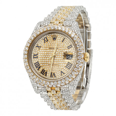 Bust Down Rolex Diamond Watch For Men 41mm Two Tone Datejust 18k Gold 17.25 Main Image