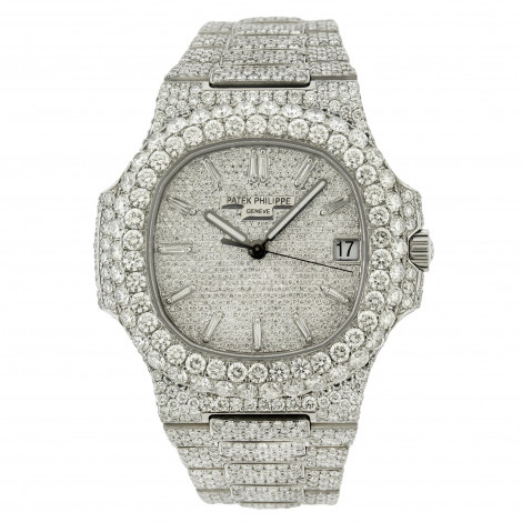 Fully Iced Out Patek Philippe Nautilus Real Diamond Watch For Men 40mm 31.5ct Main Image