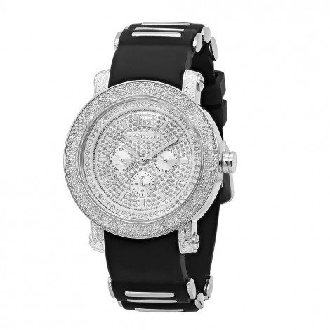 Iced Out Jojino Mens Real Diamond Watch w Black Rubber Band 0.25ct Day & Date is $199 (84% off)