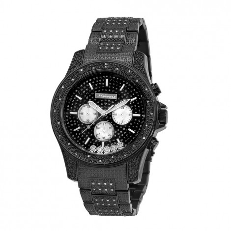 Jojino Black Iced Out Diamond Watch for Men with Floating Stones Main Image