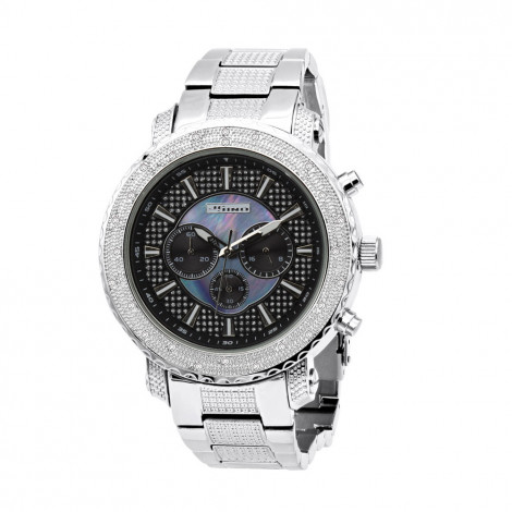 JoJino Chronograph Large Men's Diamond Watch 0.25ct Iced Out Black Blue MOP Dial Main Image