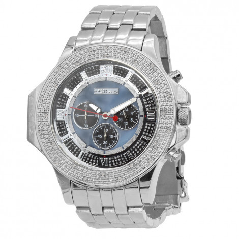 JoJino Chronograph Large Men's Diamond Watch 0.25ct Iced Out Blue MOP Dial Main Image