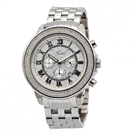 JoJino Chronograph Large Men's Diamond Watch 0.25ct Roman Numerals Iced Out Dial Main Image