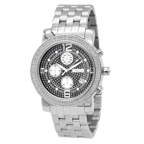 JoJino Chronograph Mens Diamond Watch 0.25ct Iced Out Black Dial Metal Band is $127 (86% off)