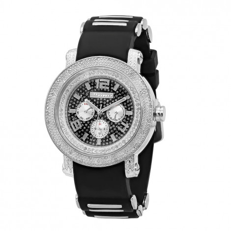 Jojino Iced Out Men's Diamond Watch Black Rubber Band Chronograph 0.25ct Main Image