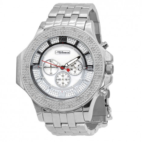 JoJino Large Mens Diamond Watch 0.25ct Iced Out White MOP Dial Chronograph Main Image