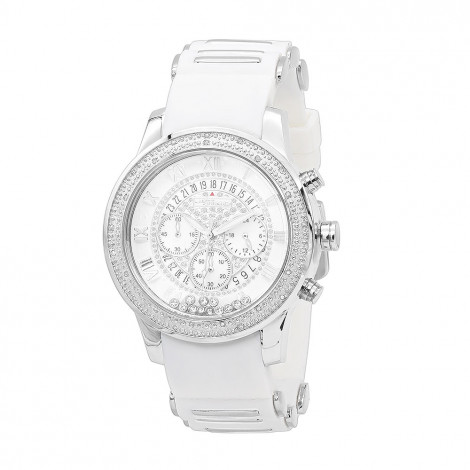 White Jojino Mens Diamond Watch Floating Stones Rubber Band Chronograph 0.25ct is $199 (86% off)
